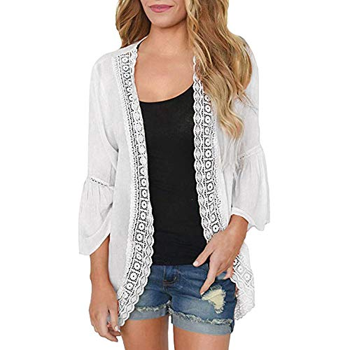 (Womens Top Solid Lace Long Sleeve Chiffon Cardigan Loose Casual Blouse Tootu White)