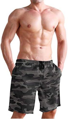 CENHOME Mens Swim Trunks Black Dark Camouflage Color Beach Board Shorts