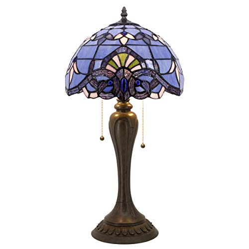 Blue Purple Baroque Tiffany Style Table Lamps Lighting W12H22 Inch Lavender Stained Glass Lampshade Antique Base for Living Room Bedroom Bedside Desk Lamp S003C WERFACTORY Baroque Tiffany Style Table
