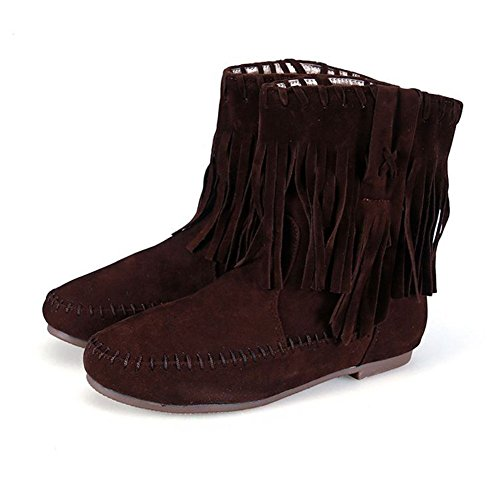 Boots Flat Frestepvie Warm Ladies Warm Winter Brown Women's Tassel Shoes wTT5Iq