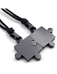 Konov Jewelry 2pcs Lovers Mens Womens Puzzle Stainless Steel Pendant Love Friendship Necklace Set, Couples Valentine's Gift for Him and Her, Black, with 20-22 inch Rope Chain, with Gift Bag, C22718