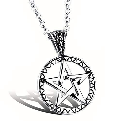 ATDMEI Supernatural Star Pentagram Pendant Necklace for Mens Women Stainless Steel Vintge Gothic Jewelry Gifts