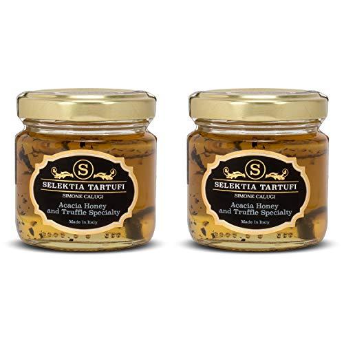 Selektia Tartufi Italian Acacia Honey and Truffle Specialty - Gourmet Honey Made in Tuscany, Italy, Made with Yellow Acacia Honey and Black Summer Truffles, Gluten Free, Low Glycemic 110g (2 -