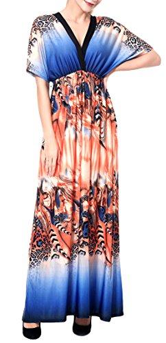 Wantdo Women's V Neck Maxi Dress Boho Backless Casual Dress Sapphire Blue L