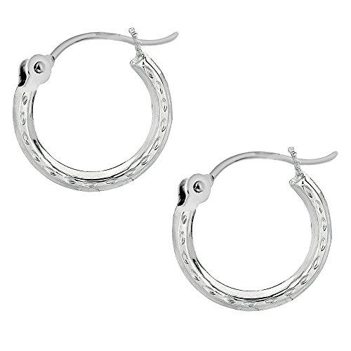 White Circular Earring - Ritastephens 14k White Gold Mini Hoops Hoop Earrings Tubular 2x12mm Diamond-Cut