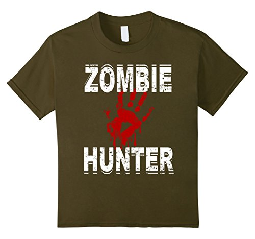 Kids Zombie Hunter T Shirt Scary Halloween Costume 8 Olive