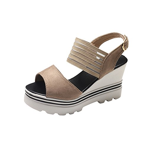 TIFENNY Wedge Sandals for Women Fish Mouth Platform High Heels Wedge Peep Toe Sandals Stripe Buckle Slope Sandals -