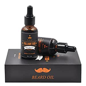 2 Packs Fragrance Free Beard Care Oil for Men 100% Natural Organic Tea Tree Jojoba Oil Leave in Conditioner Softener for Mustache Grooming Moisturizing 30ml 1 fl oz