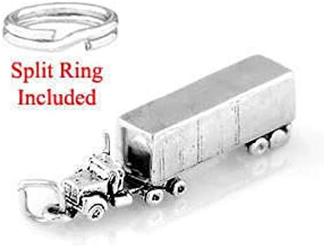 Charm W//Split Ring Charms,Pendant and Bracelet by Easy to be happy Solid Sterling Silver SEMI Truck