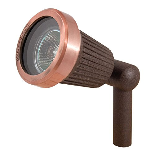 (Sterno Home Paradise GL22724RC Spotlight with 20-Watt MR16 Halogen Bulb, Quick Clip Connector, Low Voltage Aluminum Outdoor Path Light with Copper Finish,)