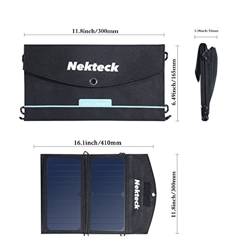 Nekteck 14W Solar Charger with 2-Port USB Charger Build with High efficiency Solar Panel Cell for iPhone 6s / 6 / Plus, SE, iPad, Galaxy S6/S7/ Edge/ Plus, Nexus 5X/6P, any USB devices, and more by Nekteck (Image #5)