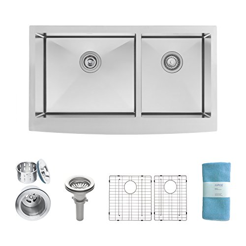 Zuhne Turin 33 Inch Farmhouse Apron Front 60/40 Deep Double Bowl 16 Gauge  Stainless Steel Luxury Kitchen Sink
