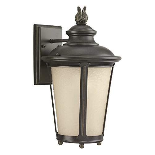 Sea Gull Lighting 8824191S-780 Cape May LED Outdoor Wall Lantern with Etched Hammered Light Amber Glass Diffuser, Burled Iron Finish