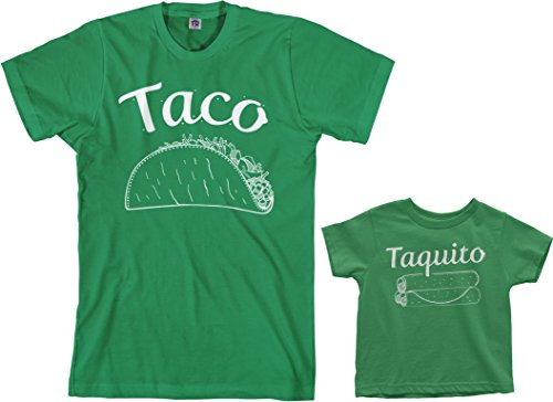 Threadrock Taco & Taquito Toddler & Men's T-Shirt Matching Set (Toddler: 3T, Kelly Green|Men's: M, Kelly Green)