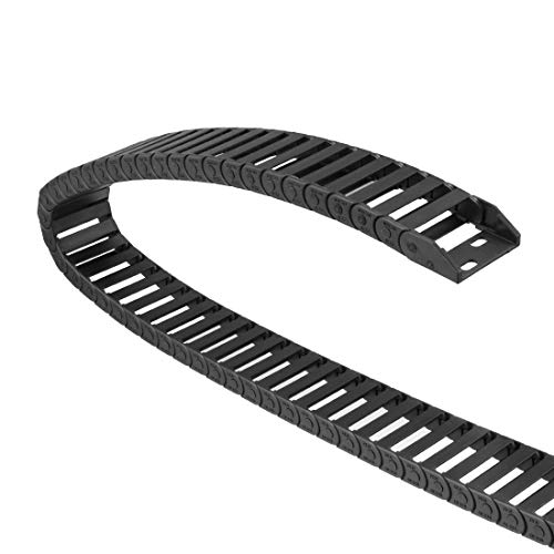 uxcell Drag Chain Cable Carrier Closed Type with End Connectors R32 10X30mm 1 Meter Plastic for Electrical CNC Router Machines Black ()