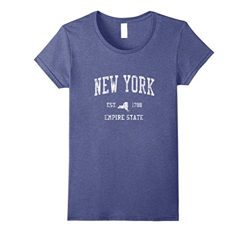 Retro Sport Vintage Tees - Womens Retro New York NY T Shirt Vintage Sports Tee Design Large Heather Blue