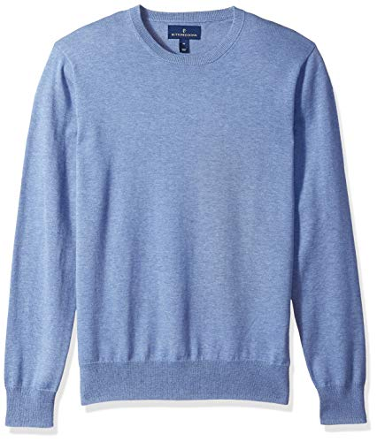BUTTONED DOWN Men's Supima Cotton Lightweight Crewneck Sweater, blue, Medium