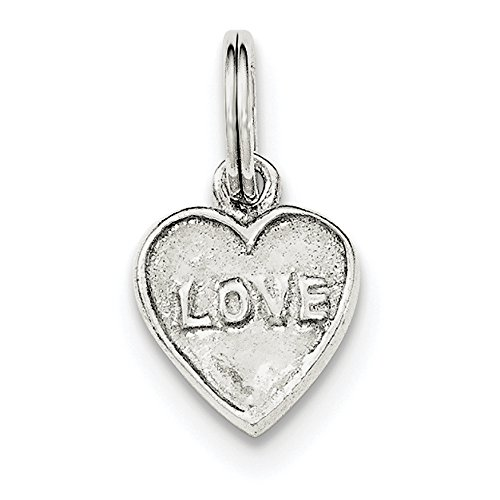 Sterling Silver Polished and Textured Heart Charm Pendant