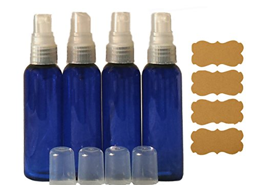 (2oz Blue Plastic Bottles Fine Mist Sprayer Atomizer Caps w/ Kraft Labels 4/pk Leak Proof for DIY Aromatherapy Fragrance Personal Care Travel)