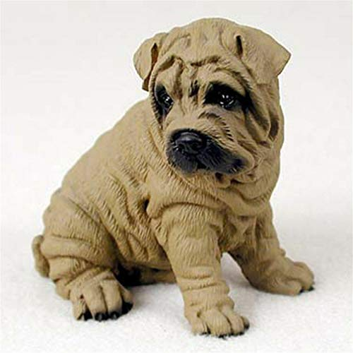 Ky & Co YesKela Shar Pei Figurine Hand Painted Statue Brown