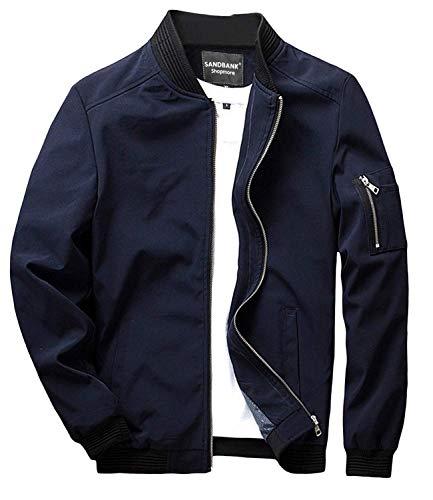 sandbank Men's Slim Fit Lightweight Softshell Flight Bomber Jacket Coat (US XL, Deep Blue #2) (Male Varsity Jacket)