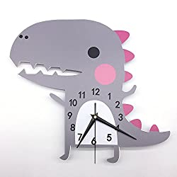 DPIST Dinosaur Kids Wall Clock, Large Home Decorative Silent Non Ticking Quality Quartz Battery Operated Wall Clock-3D Easy to Read Bedroom/Living room/Office/School Clock