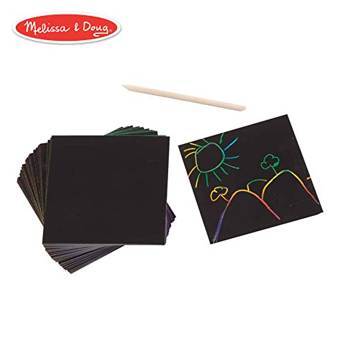 Melissa & Doug Scratch Art Box of Rainbow Mini Notes, Arts & Crafts, Wooden Stylus, 125 Count, 3.75