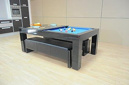 Mesa dúo de comedor y billar Milano – Brillo de piano negro con paño azul: Amazon.es: Hogar