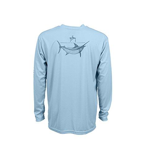 Guy Harvey Men's Marlin Sketch Pro UVX Performance Long-Sleeved T-Shirt, Sky Blue, Large