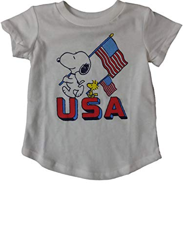 Peanuts Infant & Toddler Girls Snoopy Woodhouse USA Patriotic Flag Tee Shirt White