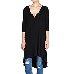 Mordenmiss Women's Half Sleeve High Low Loose Tunic Tops Casual Tee Shirts