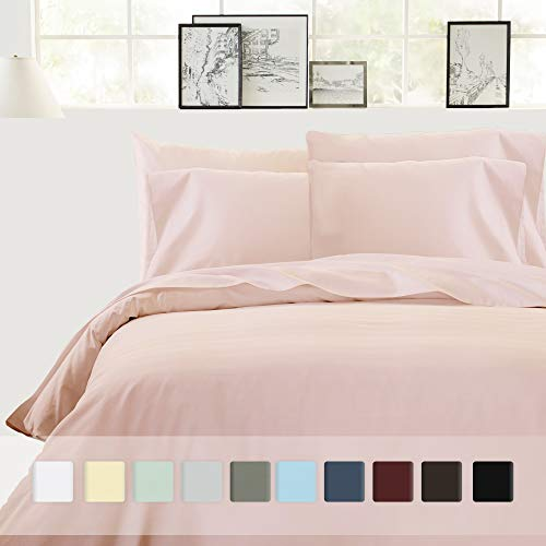 (Best Hotel Luxury Bedding 3-Piece Full/Queen Blush Duvet Cover Set, 400 TC 100% Long-Staple Combed Cotton Soft, Silky & Breathable Duvet Cover Set, Perfect Cover for your Down Comforter)