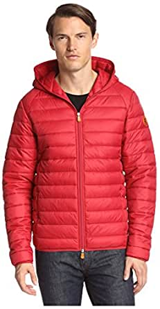 Save the Duck Men's Giga Puffer Hoodie Jacket, True Red, L