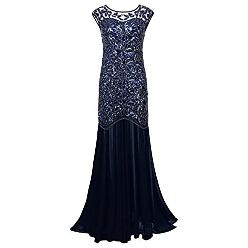 PrettyGuide Women s 1920s Black Sequin Gatsby Maxi Long Evening Prom Dress, Navy - 20/22 Plus