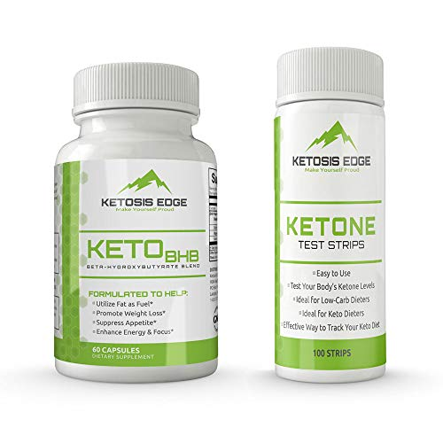 Keto Diet Pills with Free Test Strips - Keto BHB Supplement for Low Carb and No Carb Diets - Get to Ketosis Faster and Stay in Ketosis Longer - Burn Fat for Fuel - Enhance Energy and Focus