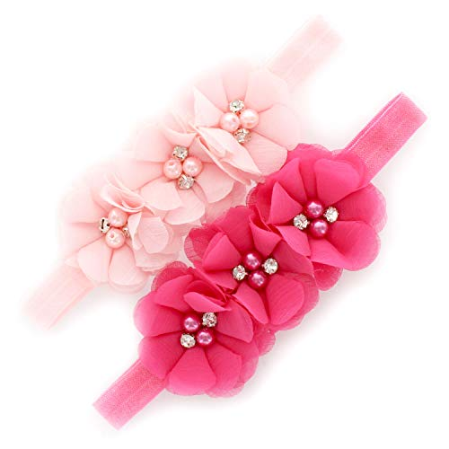 My Lello Baby Flower Headbands Fabric Beaded Trio Stretchy Elastic Pair (Light Pink/Hot Pink)