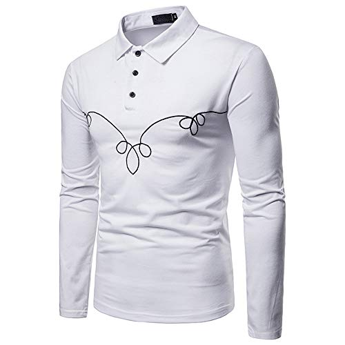 Polo Shirt Classic Fashion Slim-Fit Short Sleeve Quick-Dry Golf fit for Men(White,S)