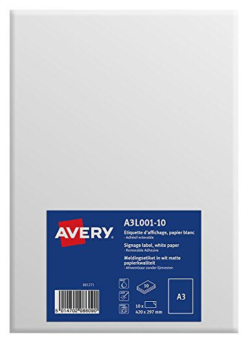 Avery A3 Durable Printable Signs/A3 Signage, Matt White, 297 x 420 mm, Pack of 10 ()