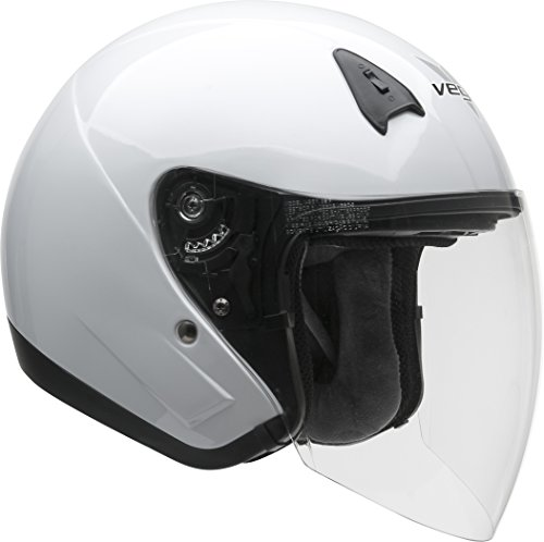 Vega Helmets VTS1 Open Face Motorcycle Helmet with Inner Sunshield - DOT Certified Full Face Shield & Visor Motorbike Helmet for Cruisers Street Bike Scooter Touring Moped Moto (Pearl White, Medium)