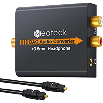 Neoteck DAC Digital to Analog Audio Converter Optical Coaxial Toslink Signal to Analog Audio Adapter RCA L/R with 3.5mm Jack Output for HDTV Blu Ray DVD Sky ...