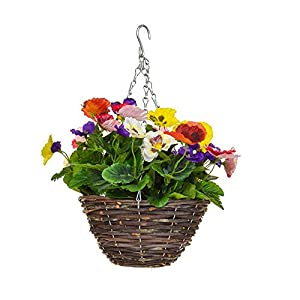 MARJON FlowersArtificial Pansy Hanging Basket 6 Colour Mix 22