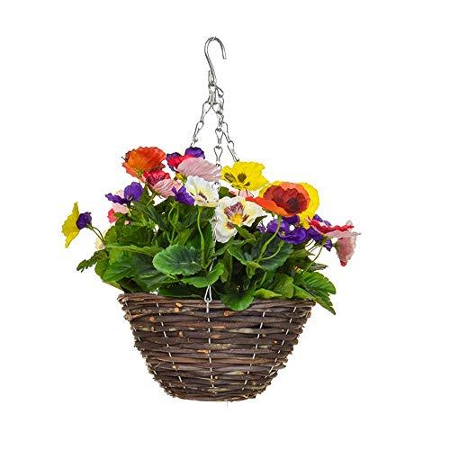 MARJON FlowersArtificial Pansy Hanging Basket 6 Colour Mix