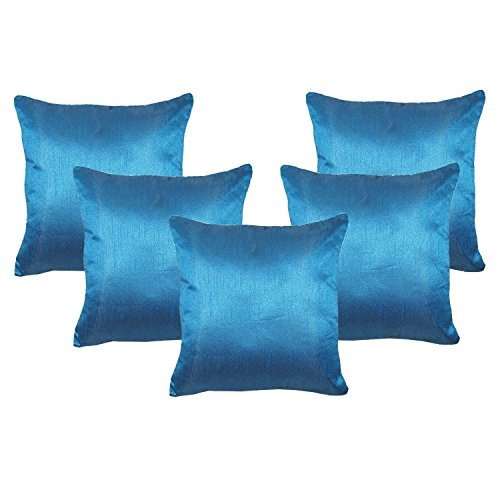 Decorative Pillow Throw Blue Home Decor 5 Pcs Bed Cushion Cover Poly Dupion Silk Sofa Case 20