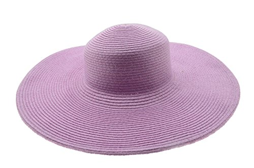 - Wide Women Colorful Derby Large Floppy Folderable Straw Beach Hat (Lavender)