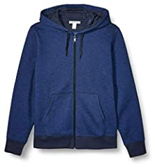 An Amazon brand - This wardrobe-staple sweatshirt features a zip-up front with split kangaroo pocket and warmth-sealing ribbed cuffs and hem