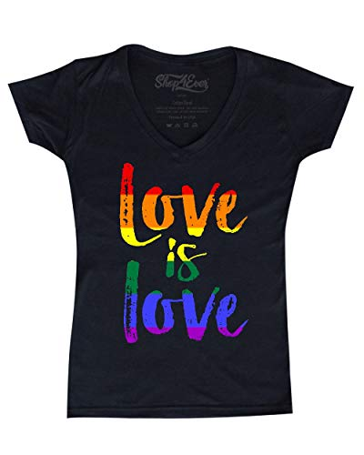 - Shop4Ever Love is Love Women's V-Neck T-Shirt Gay Pride Shirts X-Large Black 0