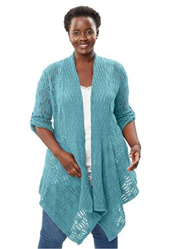Women's Plus Size Open Front Cardigan Pointelle Sweater Soft Aqua,1X - Tab Front Sweater