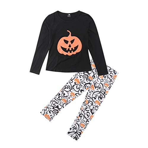 Fashion Family Match Halloweens Clothing Set Tees Tops Child Daughter Pumpkin T-Shirt Floral Pants Matching Outfit 12M -