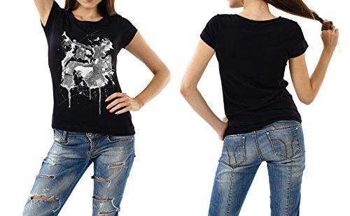 Boxen_I schwarzes modernes Damen / Frauen T-Shirt mit stylischen Aufdruck