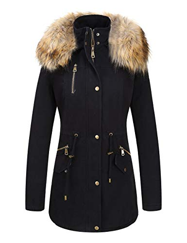 Bellivera Women's Parka Faux Fur Collar Twill Jacket, Warm Women Winter Coats with Hooded